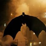 Batman glides over Gotham City